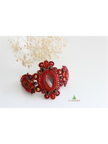 """Браслет сутажный с яшмой """"Императрица""""  (BR0206)"""