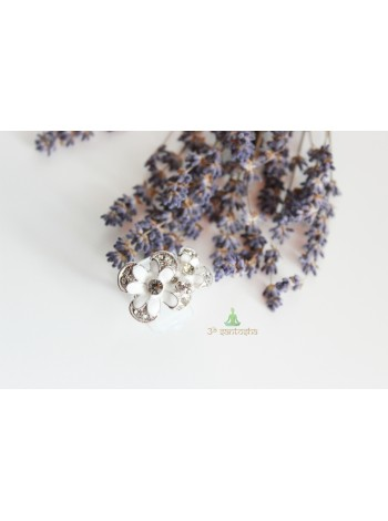 Кольцо цветок с фианитами (KB0031)