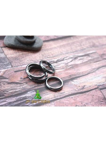 Кольцо из гематита (KLU0045) гладкое 3 мм