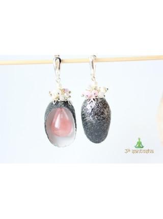 Серьги из коконов шелкопряда с розовым кварцем (SR0069)