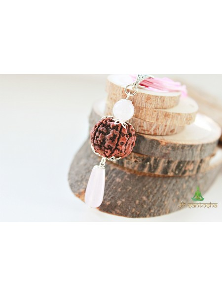 Кулон Рудракша с розовым кварцем (SH0044)