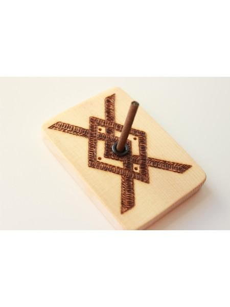 Подставка-оберег деревянная с символом Купало под благовония (AK0082)