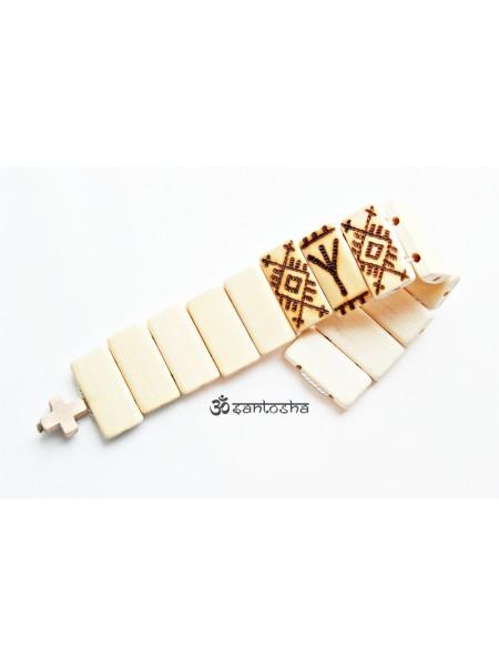 Четки перекидные из бамбука с руной Альгиз для защиты (CH0074)