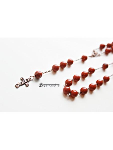 Розарий (четки) из натуральной красной яшмы (CH0077)