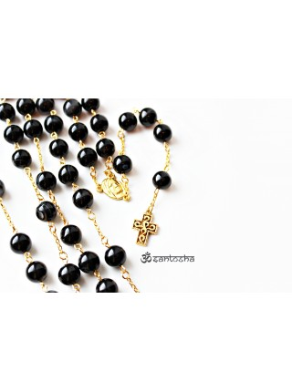 Розарий католический черный агат (CH0079)