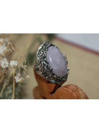 Перстень филигрань розовый кварц  (PR0027)