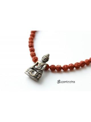 "Чокер мужской рудракша с кулоном ""Будда"" (SH0056)"